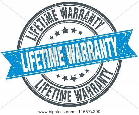 lifetime warranty blue round grunge vintage ribbon stamp