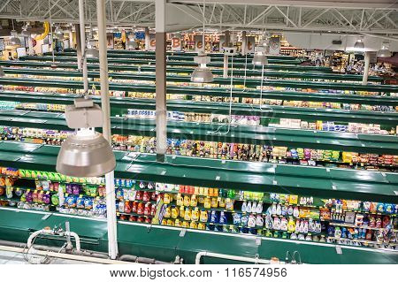 Falls Church, VA, USA - October 25, 2015: An unusual high vantage point provides an overview of a modern tw0-story grocery store catering to demands for quality and organic products.