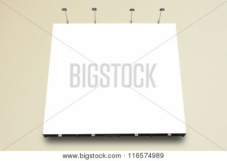 Blank poster billboard attached wall with copy space for your text message or content in modern shop