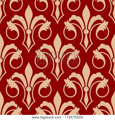 Red and beige seamless floral pattern