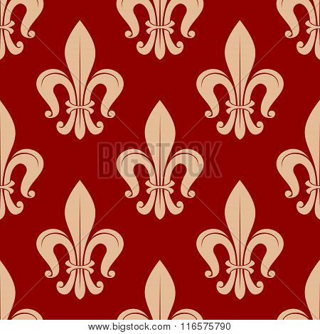 Fleur-de-lis seamless pattern on scarlet red