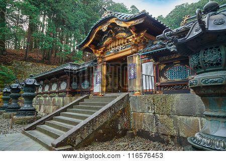 NIKKO JAPAN - NOVEMBER 17 2015: Taiyuinbyo - the Mausoleum of Shogun Tokugawa Iemitsu the grandson of Ieyasa : the first Shogun of the Tokugawa clan