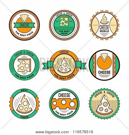 Labels, emblems, badges for cheese. Cheese icons.