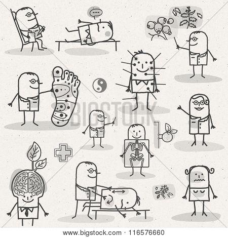 set of medical black and white cartoons - PARAMEDIC AND ALTERNATIVE