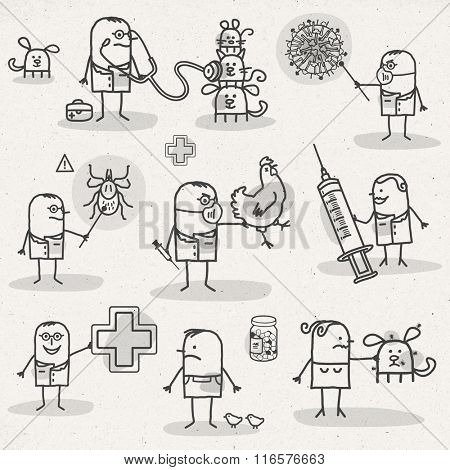 set of medical black and white cartoons - VETERINARY