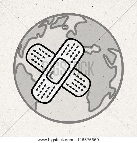 cartoon sick Earth with bandage