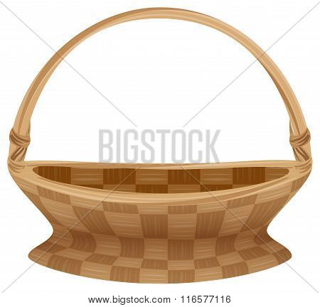 Empty wicker basket with handle. Straw basket