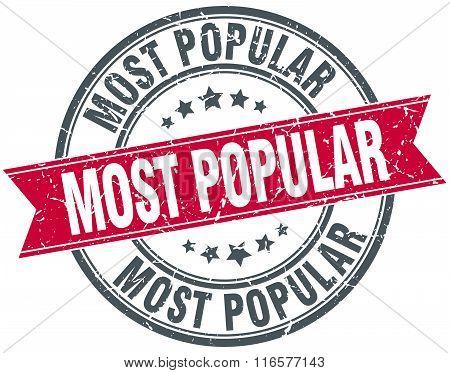 most popular red round grunge vintage ribbon stamp