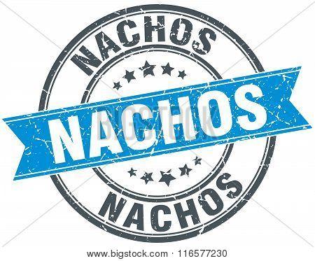 nachos blue round grunge vintage ribbon stamp