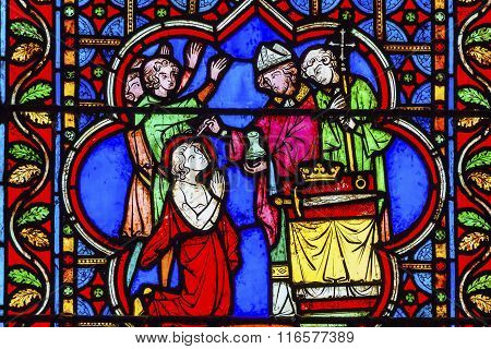 Bishop Blessing King Castle Paris Stained Glass Notre Dame Cathedral Paris France