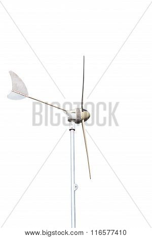 Wind Turbine, Produce Power, Green Energy Concept, Isolated On White Background