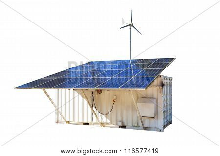 Solar Cell Panels And Wind Turbine, Produce Power, Green Energy Concept
