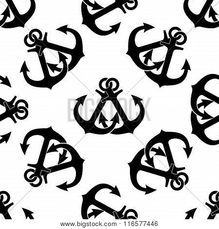 Crossed ship anchors seamless pattern