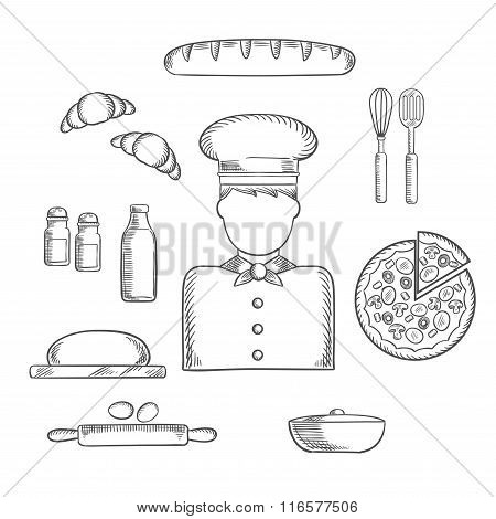 Baker profession and ingredients sketches