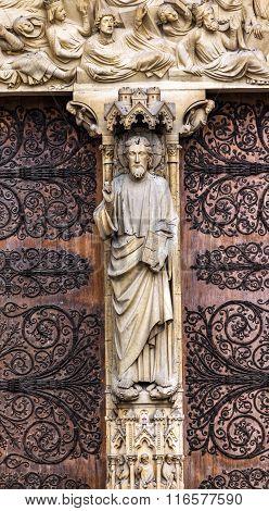 Biblical Statues Judgement Door Notre Dame Cathedral Paris France