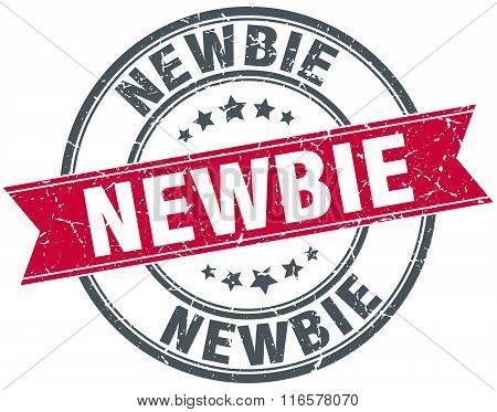 newbie red round grunge vintage ribbon stamp