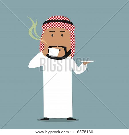 Arabian businessman drinking a coffee