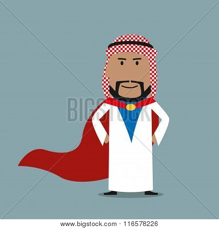 Strong arabian businessman in red cape