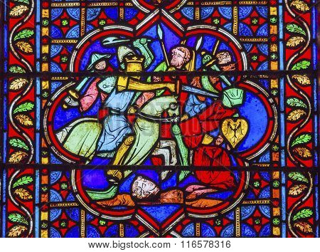 Knights Fighting Swords Horses Battle Stained Glass Notre Dame Cathedral Paris France