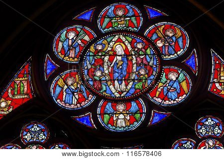 Virgin Mary Angels Stained Glass Notre Dame Cathedral Paris France