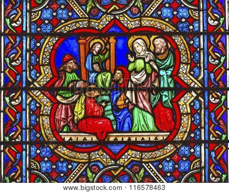 Mary Jesus Christ Joseph Worshipers Stained Glass Notre Dame Cathedral Paris France