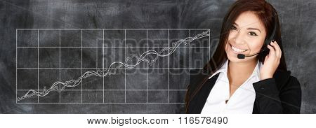 Confident businesswoman who is working at the stock market