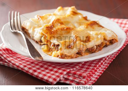 homemade italian lasagna on plate