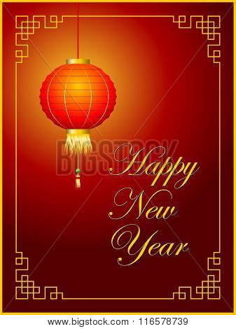 Chinese New Year Greetings Card With Red Lantern