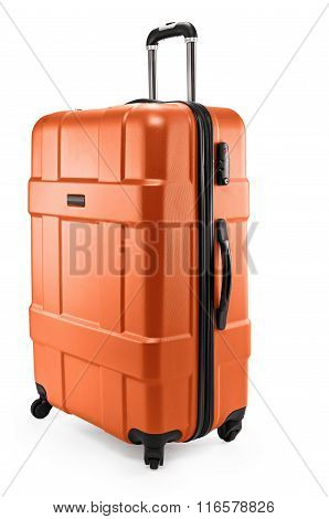 Orange color suitcase plastic half-turned