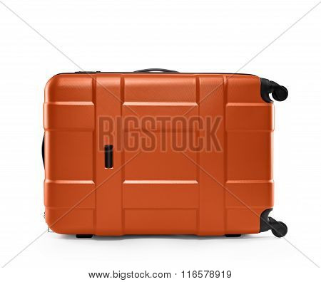Orange color suitcase. lying on its side