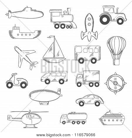 Set of isolated sketched transportation icons