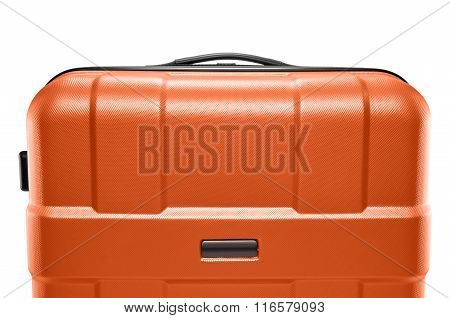 Orange color suitcase. upper part of the handle