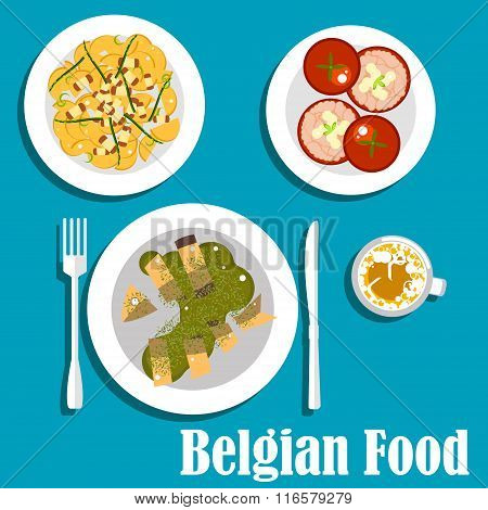 Belgian cuisine with eel fish and hot salad