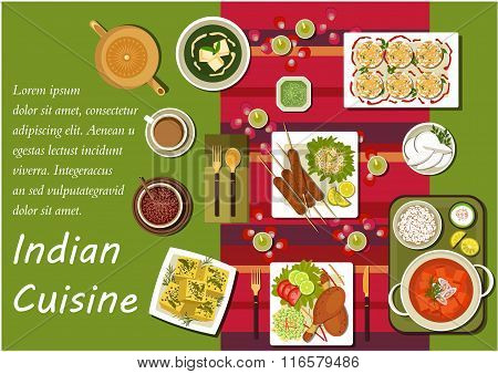 Indian cuisine main dishes and snacks