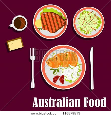 Australian cuisine with fish, meat and salad