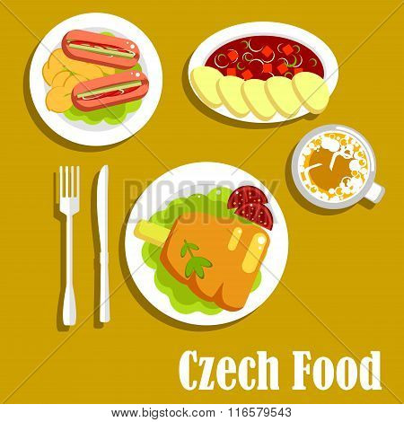 Meat dishes and drink of czech cuisine