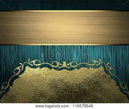 Blue Texture With Gold Ornaments And Gold Ribbon. Element For Design. Template For Design. Copy Spac