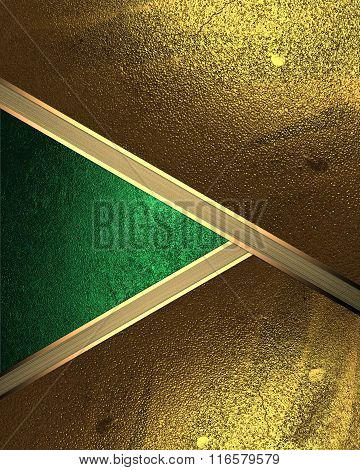 Abstract Background Of Gold Leaf With A Green Cutout. Element For Design. Template For Design. Copy