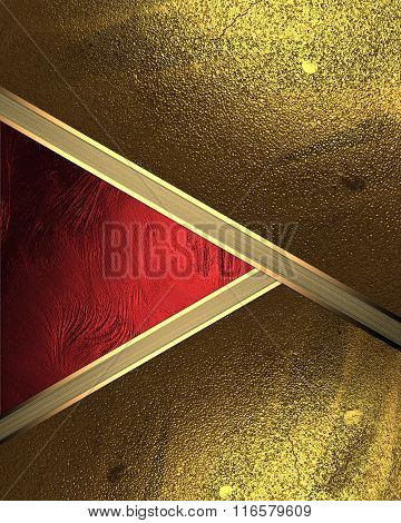 Abstract Background Of Gold Leaf With A Red Cutout. Element For Design. Template For Design. Copy Sp