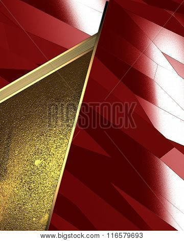 Abstract Red Background With Gold Inserts. Element For Design. Template For Design. Copy Space For A