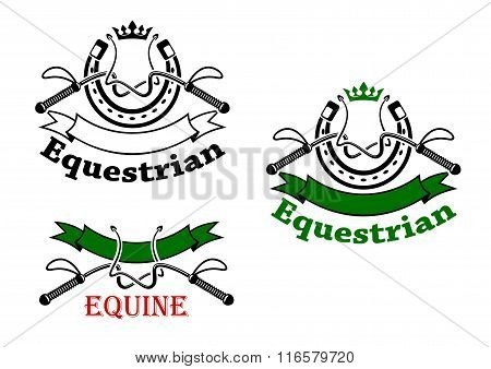 Equestrian sport emblems with whips and horseshoes