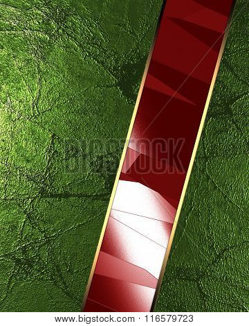 Abstract Green Background With Red Inserts. Element For Design. Template For Design. Copy Space For