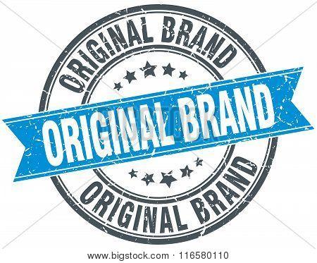 original brand blue round grunge vintage ribbon stamp