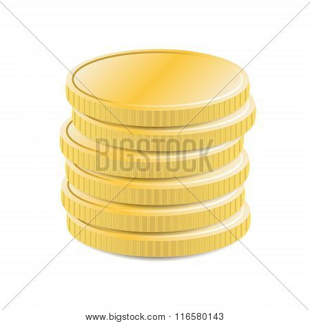 Stacked coins realistic icon