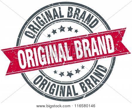 original brand red round grunge vintage ribbon stamp