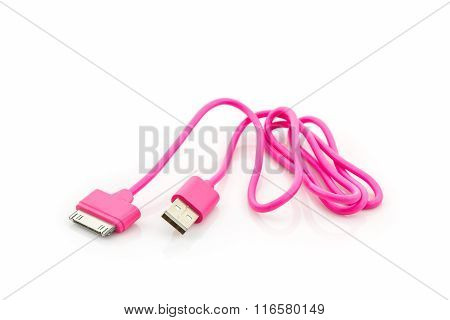 Pink Usb Cable For Smartphone.