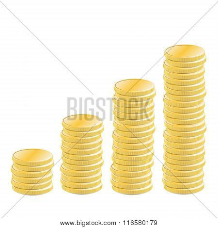 Stacked coins rising income