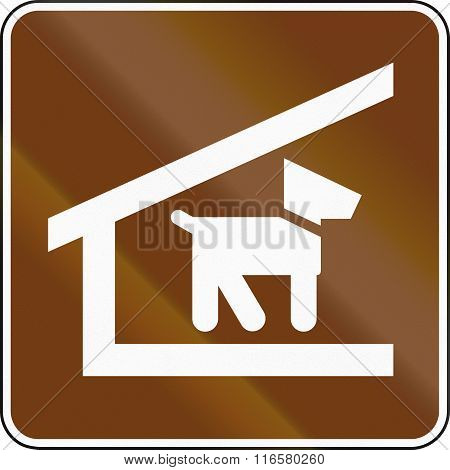 United States Mutcd Guide Road Sign - Trail Shelter With Dogs Allowed