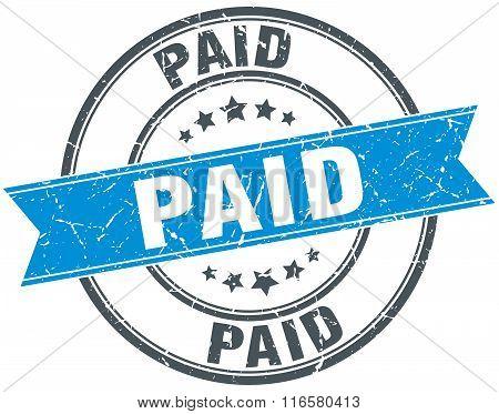 paid blue round grunge vintage ribbon stamp