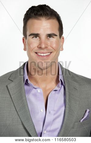 Caucasian Athletic Male in Fitted Gray Suit